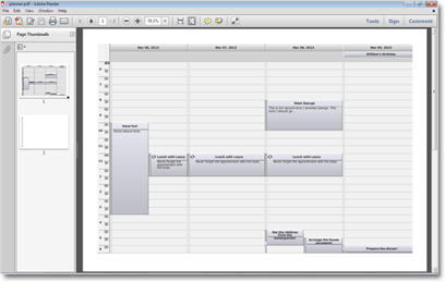 A schedule exported as a PDF file.