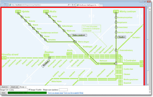 Traffic map drawn with MindFusion.Diagramming for ASP.NET