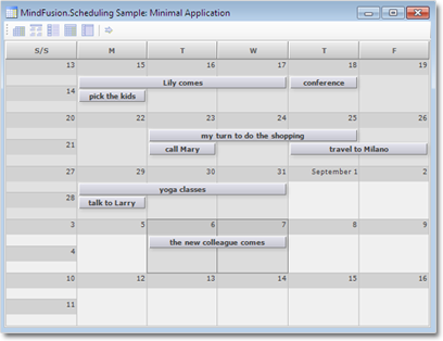 A sample monthly schedule.