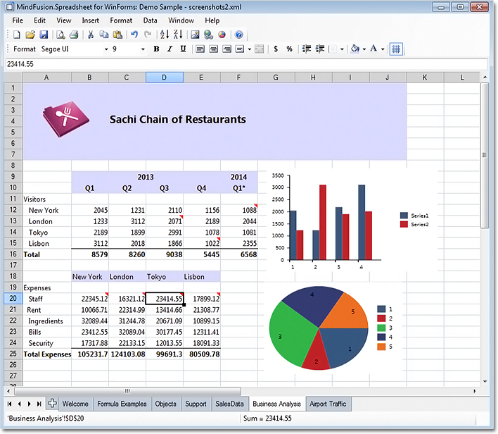 A spreadsheet created with MindFusion.Spreadsheet for WinForms