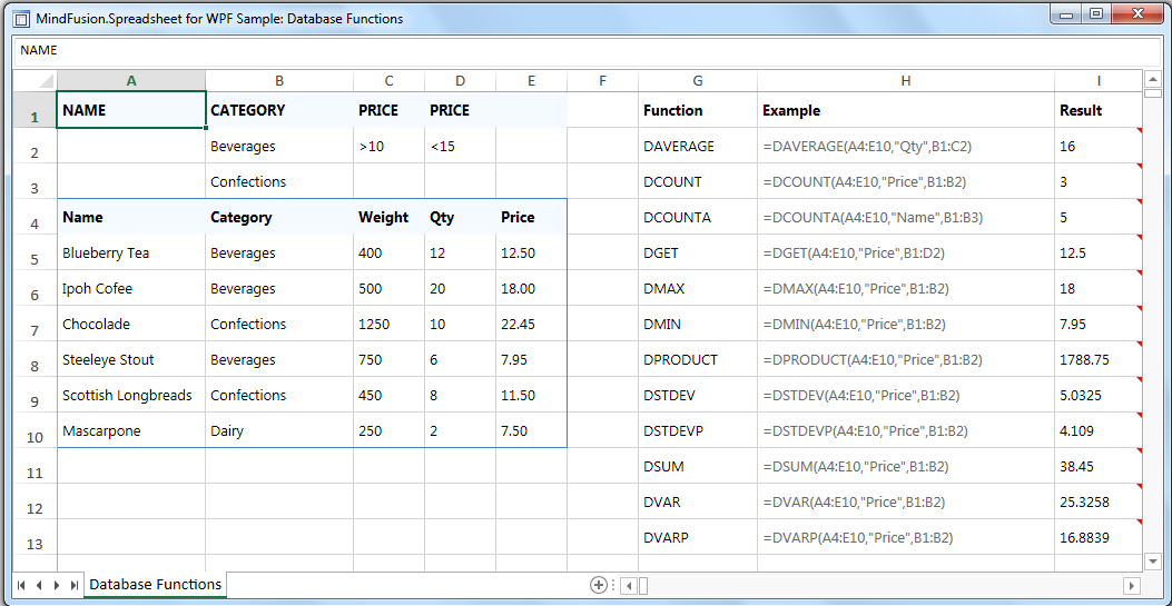 MindFusion WinForms spreadsheet control: database functions