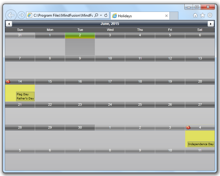 MindFusion Scheduler for Silverlight: Holiday Providers