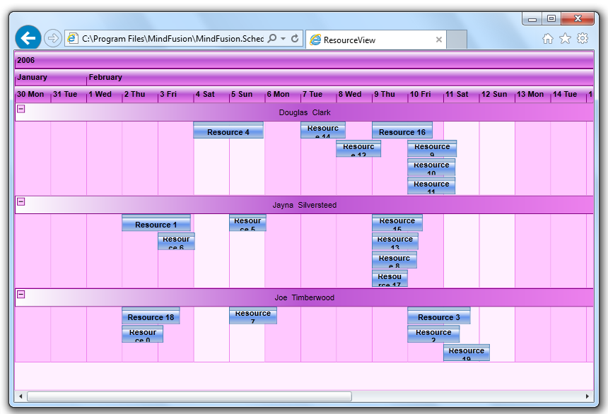 MindFusion Scheduler for Silverlight: The Resource View