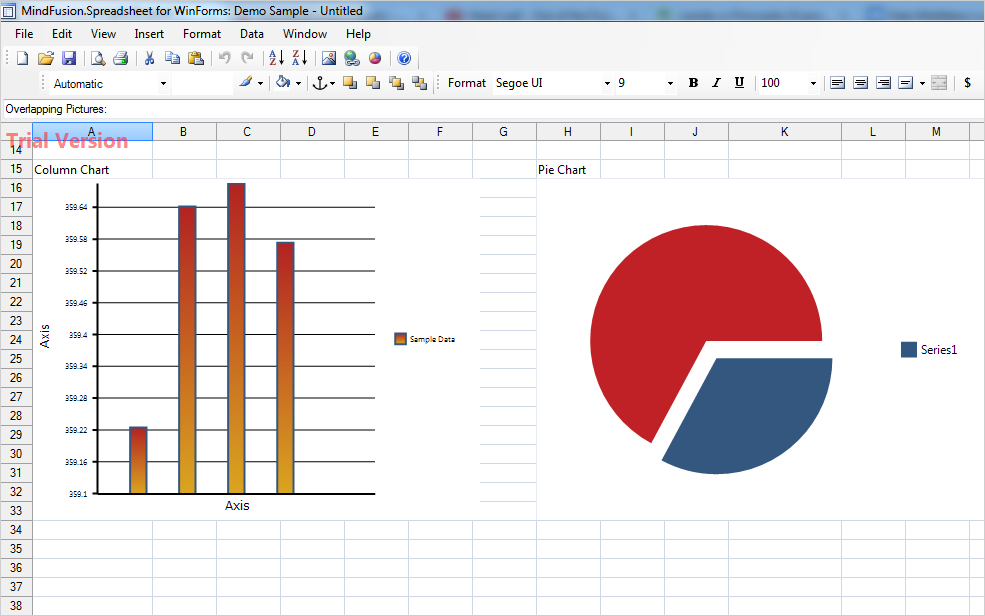 Charts in a spreadsheet