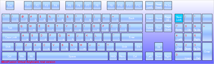 The WinForms virtual keyboard control: extended layout