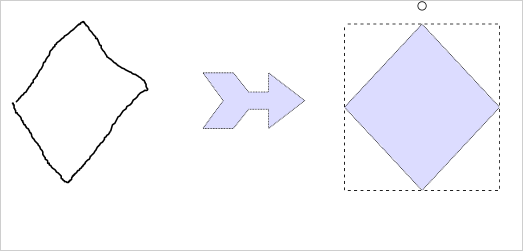Free form nodes allow the user to draw diagram shapes with the mouse of the finger