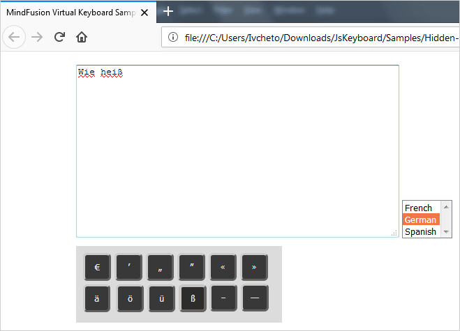 A Javascript Keyboard With Special Language Symbols That Appears