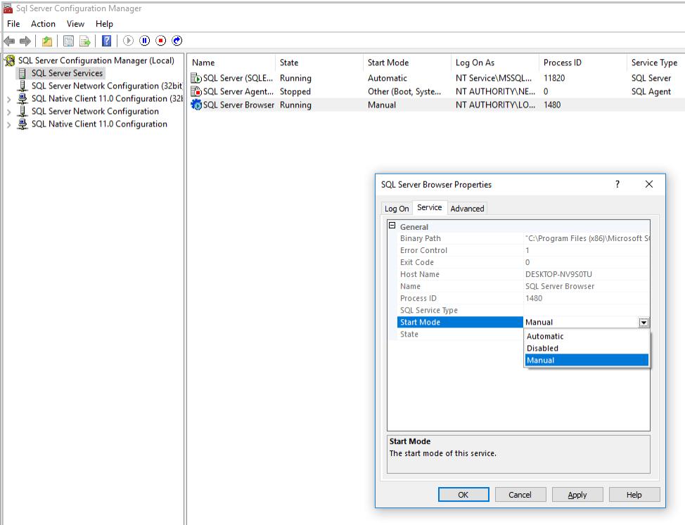 SQL Server Config Manager: Services