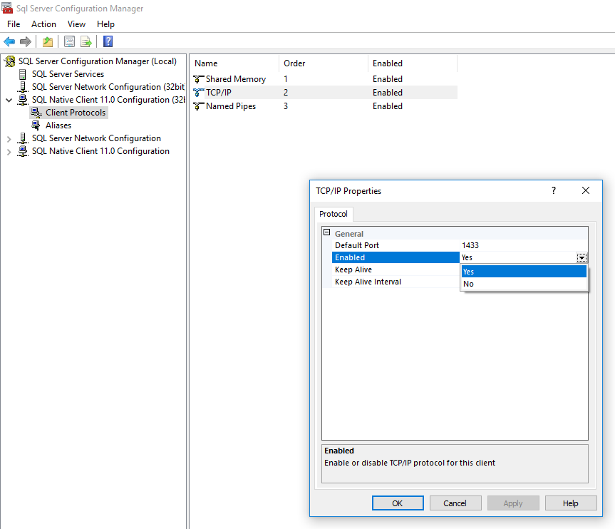 SQL Server Config Manager: Enable TCP/IP