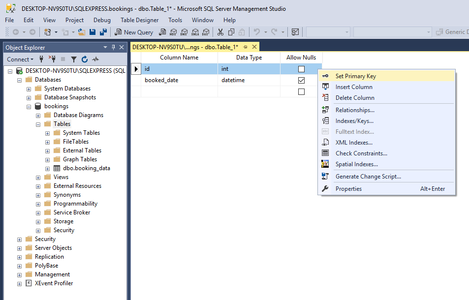 Create a new table using MS SQL Server Management Studio