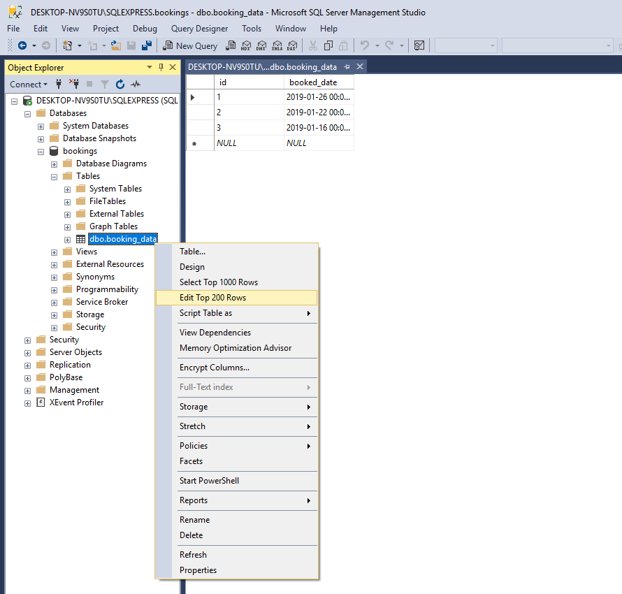 MS SQL Server management Studio: Table Edit