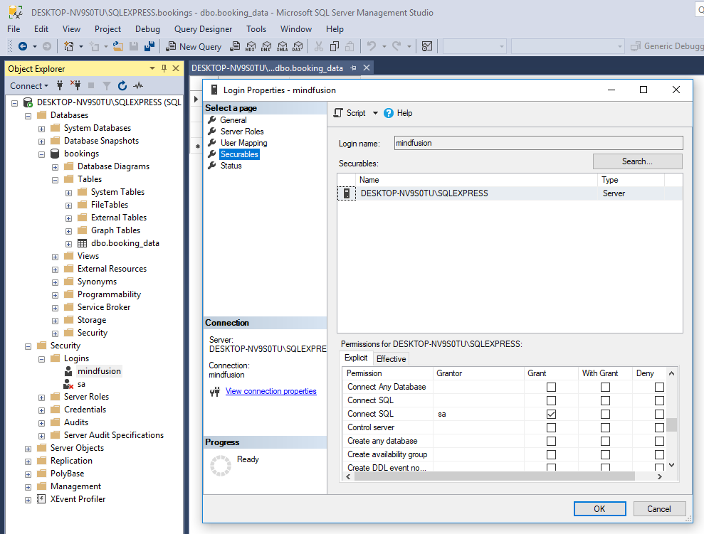 Grant SQL Connect to a DB User