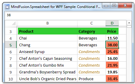 Conditional formatting of spreadsheet cells