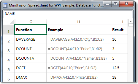 Typical database functions in a spreadsheet