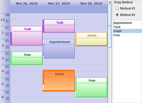 Drag and Drop in a Java Calendar