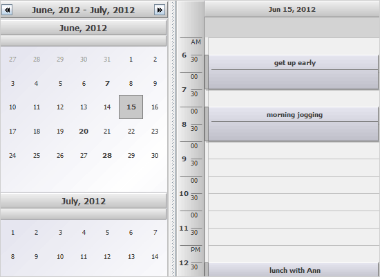 A Java Swing Calendar with a Monthly View and a Timetable