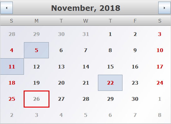 Holidays in a Java Swing Schedule