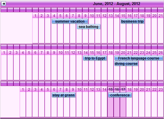 Linear Month View in Java Swing Calendar
