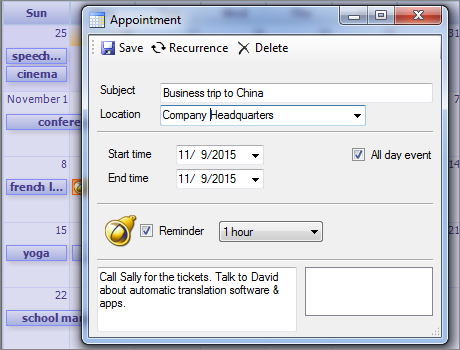Calendar Component: Appointment Form
