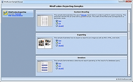 WinForms Report Control: The Sample Browser