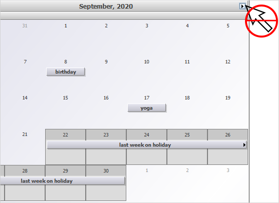 A Monthly Calendar in Java Swing