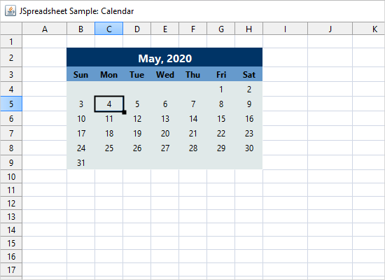 Calendar with the Java Spreadsheet Library