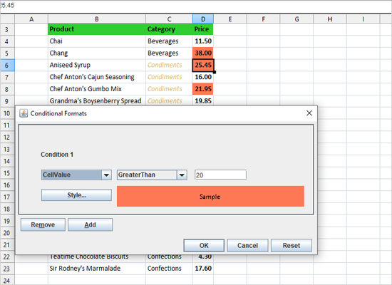 Conditional Formats in Java Swing Spreadsheet
