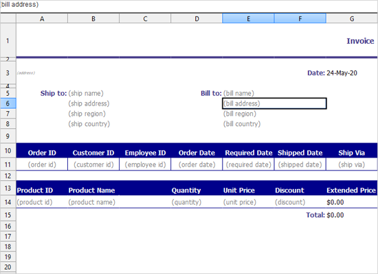 Invoice Template in Java Swing