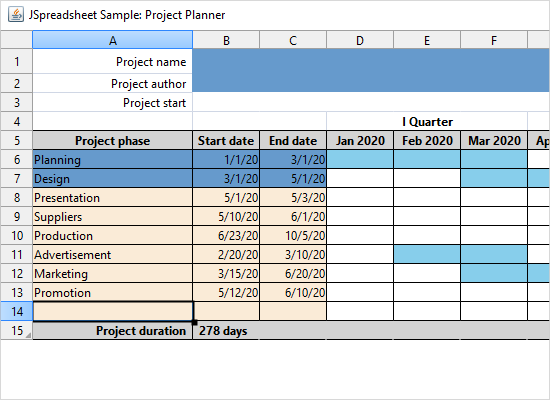 A Project Planner Application in Java Swing