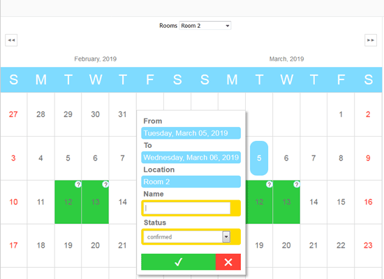 JavaScript Scheduler: Bookings Calendar