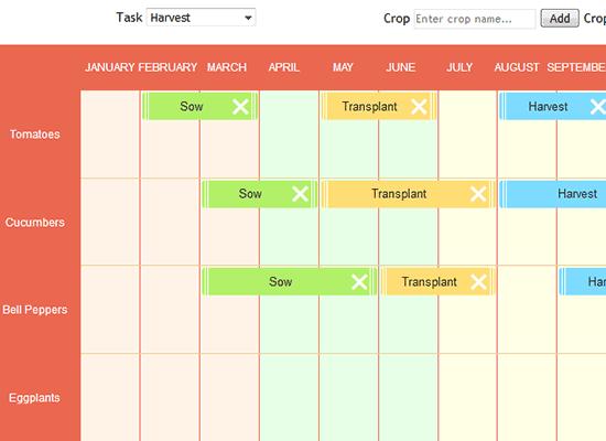 JavaScript Calendar Library: Garden Plants