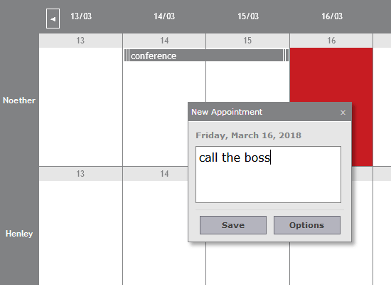 A List with Appointments and Dates in JavaScript