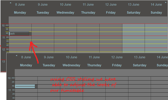 Styling the Timetable Vew in JS Scheduler