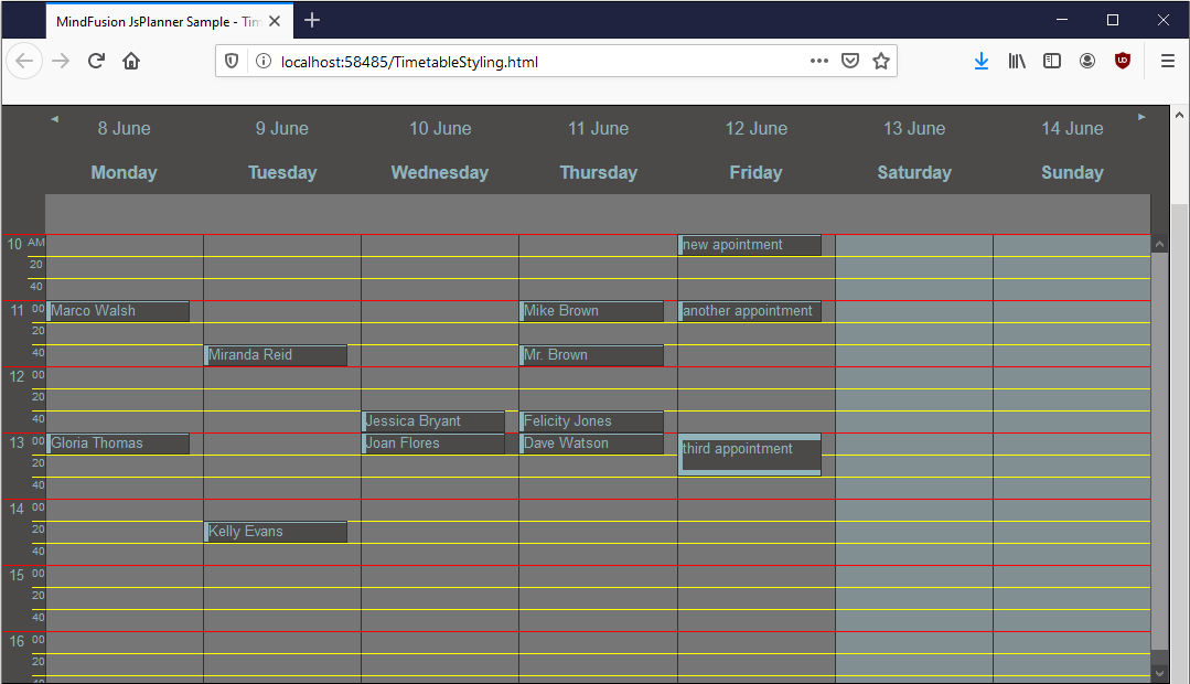 Styling the Timetable View in JS Scheduler