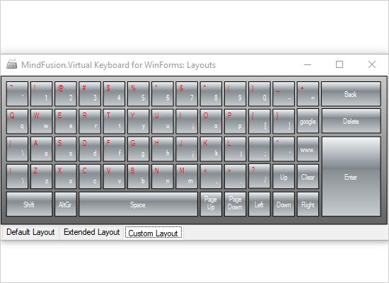 WinForms Virtual Keyboard Control: Layouts