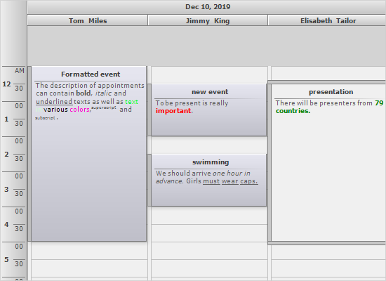Demo Program for MindFusion Scheduling Control for WinForms
