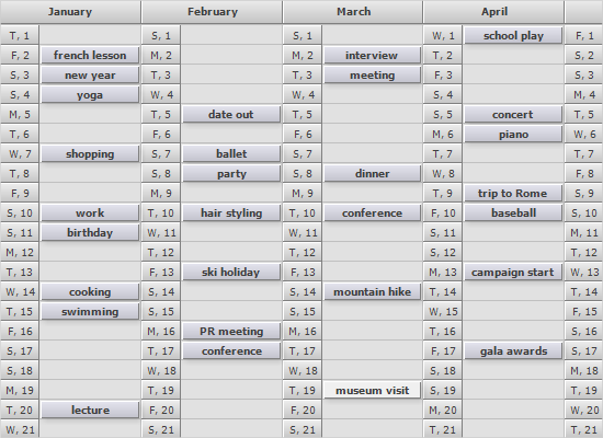 MindFusion WinForms Scheduling: Full Year List Calendar