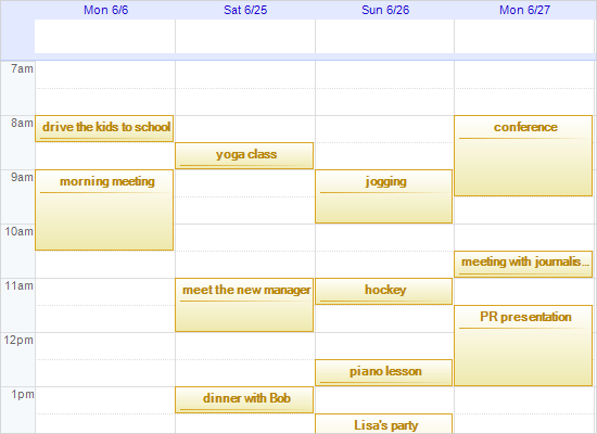 .NET Scheduling Library: Google Calendar Mockup