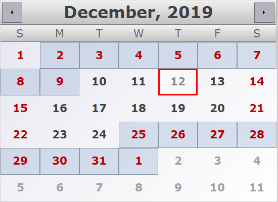 Holidays Provider Classes in MindFusion .NET Planner