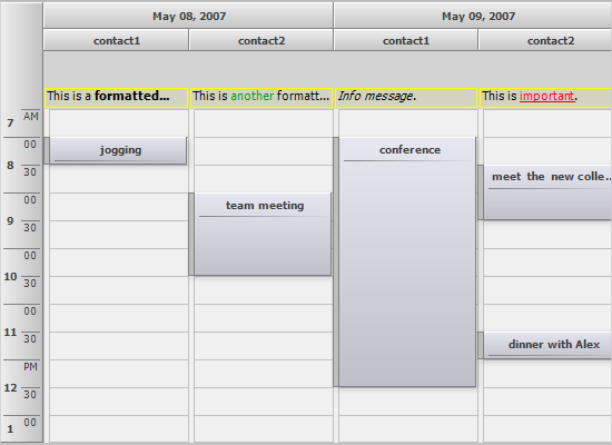 Info Headers in TimeTable and Month View