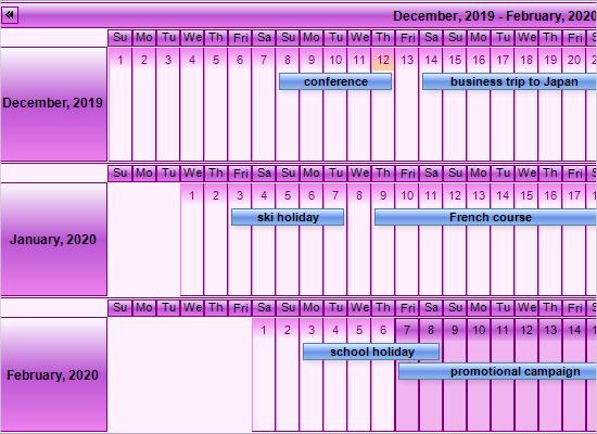 WinForms Calendar Control: Linear Month View