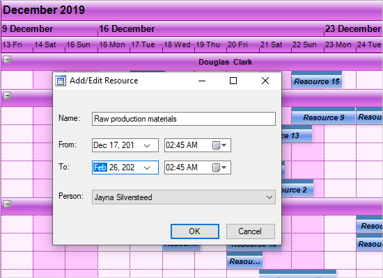 MindFusion .NET Scheduling Library: Resources