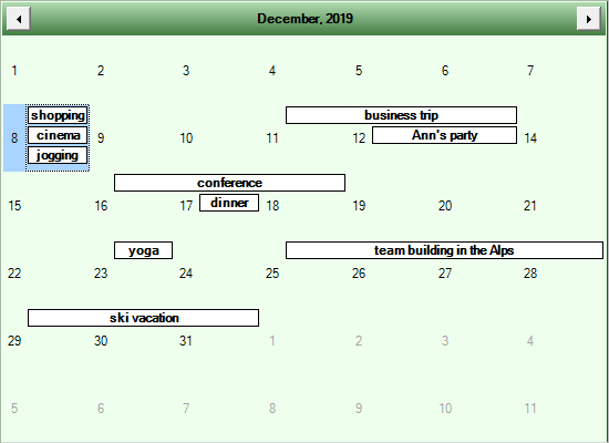 Custom Theme in MindFusion Scheduling Control