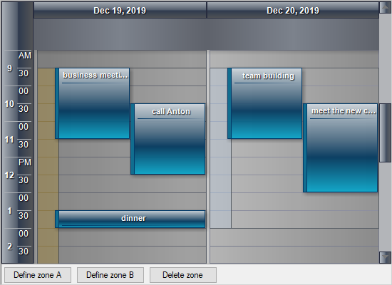 Zones in MindFusion Calendar Control