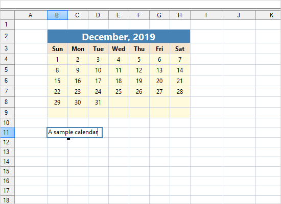 WinForms Spreadsheet Control: Sample Calendar in a WorkSheet