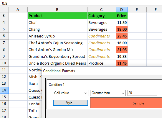 Conditional Formatting in WinForms Spreadsheet