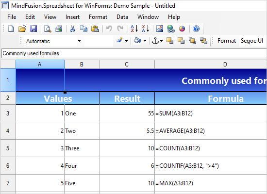 WinForms Spreadsheet Control: Demo Program