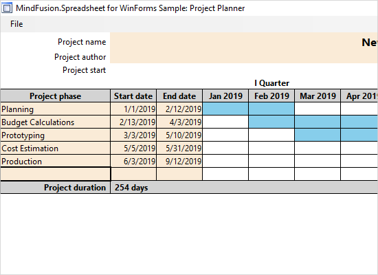 A Project Planner Application in WinForms with the Spreadsheet Control: Download