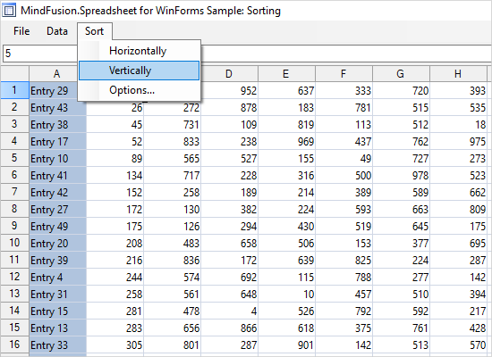Data Sorting in a WinForms Spreadsheet