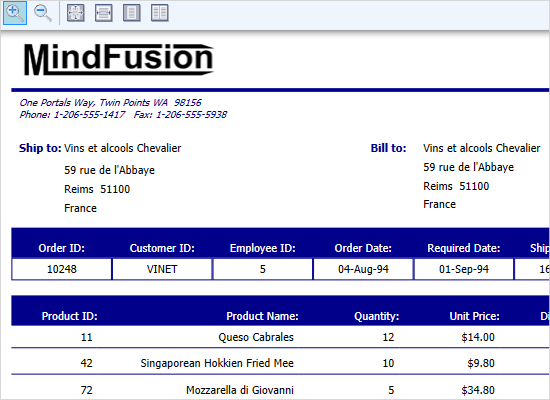 WPF Reports as Generated Invoices
